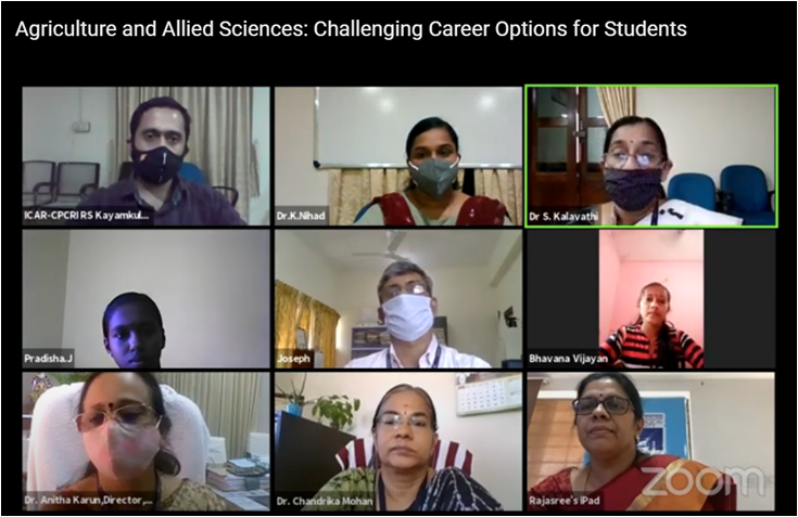 Photo for ICAR-CPCRI, Regional Station, Kayamkulam organized Career Oriented Webinar Series on 'Agriculture and Allied Sciences: Challenging Career Options for Students' during 6 - 12th Otober, 2020