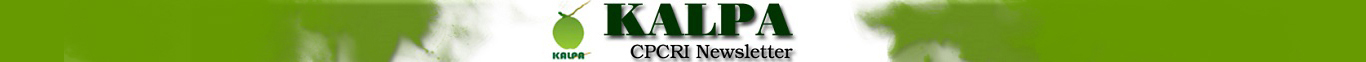 A GraphicS banner depicting CPCRI Kalpa Newsletter. Logo of Kalpa is shown in the Image.